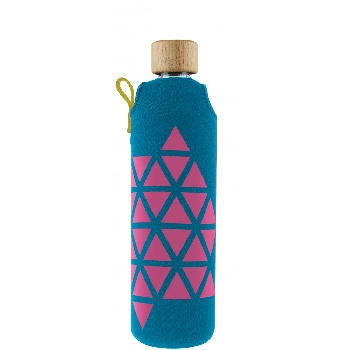 Drink it Sklenená fľaša s neoprénovým obalom Polygonka 350ml