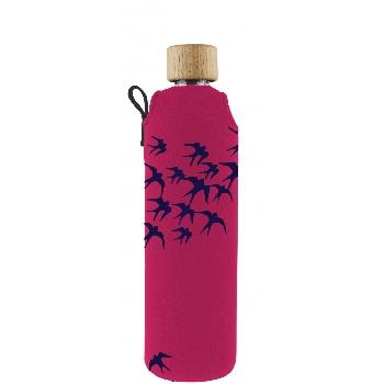 Drink it Sklenená fľaša s neoprénovým obalom Lastovičky 350ml