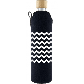 Drink it Sklenená fľaša s neoprénovým obalom Cik Cak 500ml