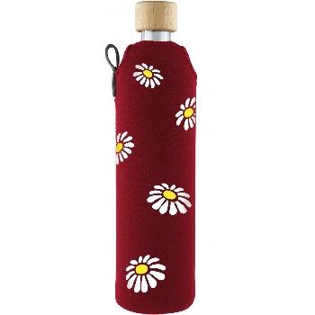 Drink it Skleněná láhev s neoprénovým obalem Kopretiny 500ml