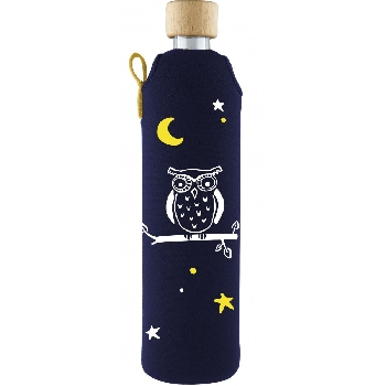 Drink it Skleněná láhev s neoprénovým obalem Sova 500ml
