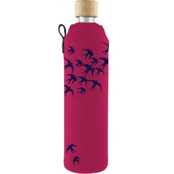 Drink it Sklenená fľaša s neoprénovým obalom Lastovičky 500ml