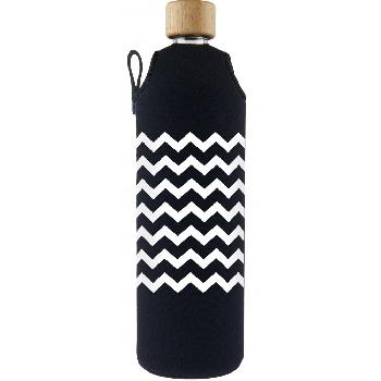 Drink it Sklenená fľaša s neoprénovým obalom Cik Cak 700ml