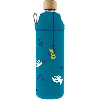 Drink it Sklenená fľaša s neoprénovým obalom Piraňa 700ml