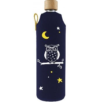 Drink it Skleněná láhev s neoprénovým obalem Sova 700ml