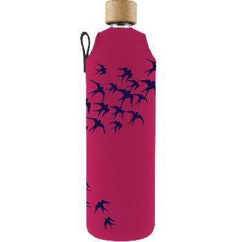 Drink it Sklenená fľaša s neoprénovým obalom Lastovičky 700ml