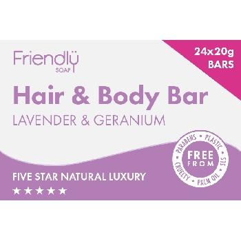 Friendly Soap přírodní mýdlo pro hosty na tělo i vlasy levandule a pelargónie 24x 20g