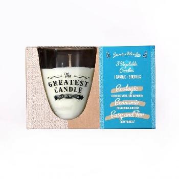The Greatest Candle sada 1x svíčka 130 g a 2x náplň jasmínový zázrak