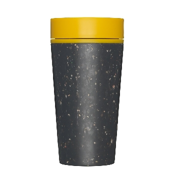 rCUP Pohárik na kávu Black and Mustard 340ml