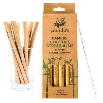 Pandoo Krátké koktejlové bambusové brčko s čistícím kartáčkem sada 12 ks