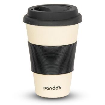 Pandoo Opakovane použiteľný bambusový kelímok na kávu a čaj 450 ml biely