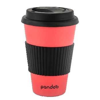 Pandoo Opakovane použiteľný bambusový kelímok na kávu a čaj 450 ml červený
