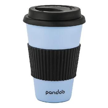 Pandoo Opakovane použiteľný bambusový kelímok na kávu a čaj 450 ml modrý