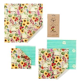 The Beeswax Wrap Opakovaně použitelný obal s včelím voskem Velký set Floral 5 ks