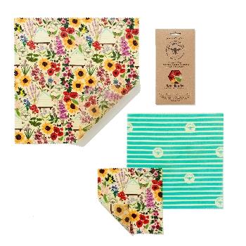 The Beeswax Wrap Opakovaně použitelný obal s včelím voskem Střední set Floral 3 ks