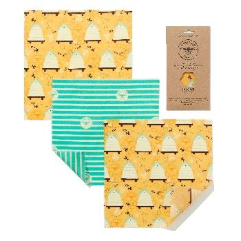 The Beeswax Wrap Opakovaně použitelný obal s včelím voskem na sýry Bee Hive 3 ks