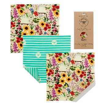 The Beeswax Wrap Opakovaně použitelný obal s včelím voskem na sýry Floral 3 ks