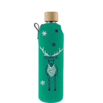 Drink it Sklenená fľaša s neoprénovým obalom Jelen 350ml