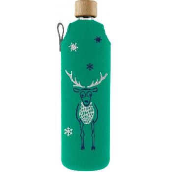 Drink it Sklenená fľaša s neoprénovým obalom Jelen 700ml