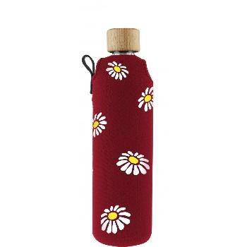 Drink it Sklenená fľaša s neoprénovým obalom Margarétky 350ml