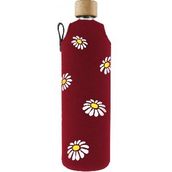 Drink it Skleněná láhev s neoprénovým obalem Kopretiny 700ml