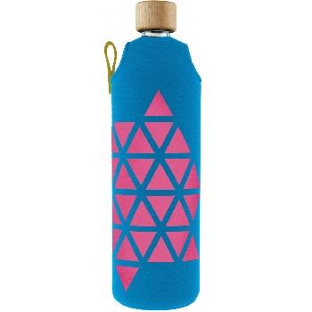 Drink it Sklenená fľaša s neoprénovým obalom Polygonka  700ml