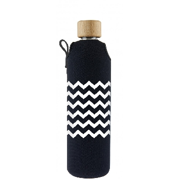 Drink it Sklenená fľaša s neoprénovým obalom Cik Cak 350ml