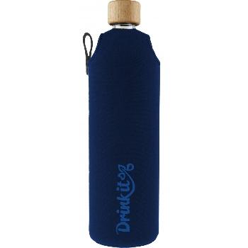 Drink it Sklenená fľaša s neoprénovým obalom Asketa Modrej 700ml