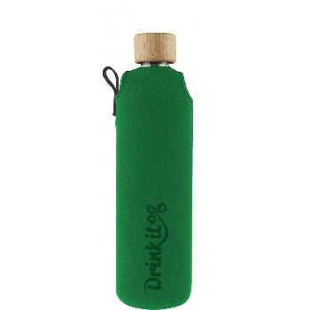 Drink it Sklenená fľaša s neoprénovým obalom Asketa Zelenej 350ml