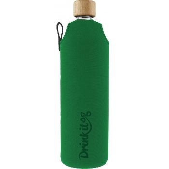 Drink it Skleněná láhev s neoprénovým obalem Asketa Zelenej 700ml