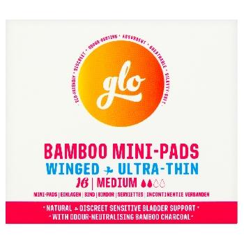 GLO Ultra tenké inkontinenční mini vložky z bio bambusu s křidélky Medium 16 ks