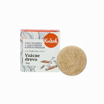 Kvitok Tuhý šampón s kondicionérom Vzácne drevo 25 g