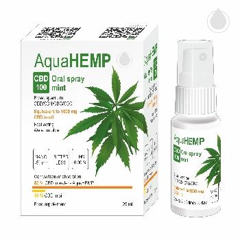 AquaHEMP CBD 100 Konopný ústní sprej široké spektrum Máta 25 ml