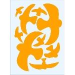 Vtáčie siluety na sklo oranžové 9 ks