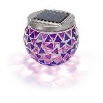 Solárna mozaiková purpurová LED lampa