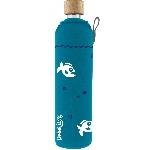 Drink it Sklenená fľaša s neoprénovým obalom Piraňa 500ml