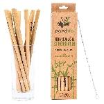 Pandoo Dlhá bambusová slamka s čistiacou kefkou sada 12 ks