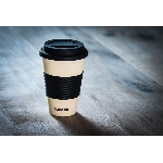 Pandoo Opakovaně použitelný bambusový kelímek na kávu a čaj 450 ml bílý