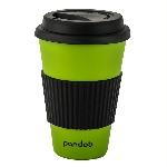 Pandoo Opakovane použiteľný bambusový kelímok na kávu a čaj 450 ml zelený