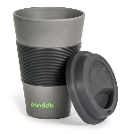 Pandoo Opakovaně použitelný bambusový kelímek na kávu a čaj 450 ml černý