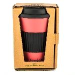 Pandoo Opakovaně použitelný bambusový kelímek na kávu a čaj 450 ml červený