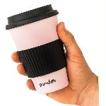 Pandoo Opakovane použiteľný bambusový kelímok na kávu a čaj 450 ml ružový