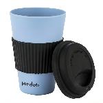 Pandoo Opakovaně použitelný bambusový kelímek na kávu a čaj 450 ml modrý