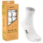 Pandoo Klasické bambusové ponožky 6 párů bílé velikost 35 až 38
