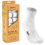 Pandoo Klasické bambusové ponožky 6 párů bílé velikost 43 až 46