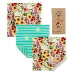 The Beeswax Wrap Opakovane použiteľný obal s včelím voskom na syry Floral 3 ks