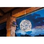 Esotec Solárna dekoračná guľa z hliníkového drôtu 102115 teplá biela