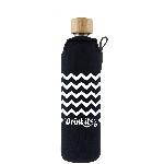 Drink it Skleněná láhev s neoprénovým obalem Cik Cak 350ml